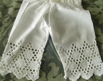Vintage Doll Underwear, Handmade Doll Garment, Doll Pantaloons, Doll Garment, Doll Clothes with Lacey Trim, Vintage Doll Clothes