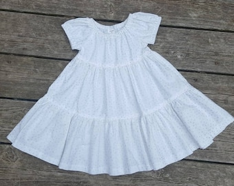 SALE - White with Metallic Silver Polka Dots 3 Tiered Dress - Size 2T