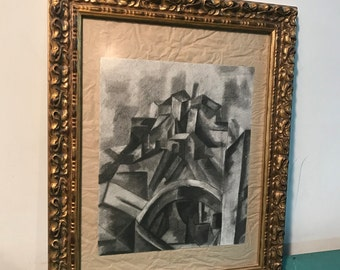 Vintage rare abstract cubist pencil drawing, Mid century framed  pencil drawing, Wall art