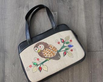 1960s Owl Jeweled Handbag Black Pleather Top Zip Ambassador Purse Womens Vintage Kitsch Bag