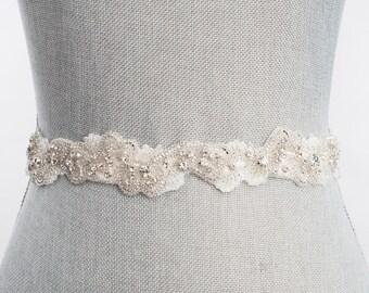 wedding dress sash, Nestina Bridal Sash, garden wedding belt,  Sb160115 - Ready To Ship