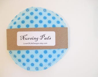 Cloth Nursing Pads--Modern Blue on Blue PolkaDots--Single Pair--Ready to Ship
