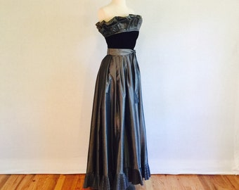Vintage 60s gunmetal gray satin evening gown - dramatic strapless floor length formal party dress - medium