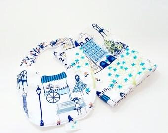 Bib and Burp Cloth Set - Blue Paris- Baby Girl Bib