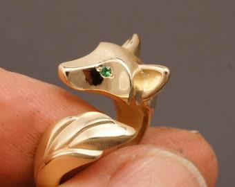 shaggy wolf .bronze . gem eyes