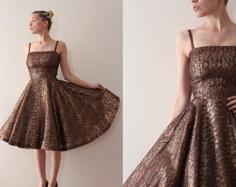 vintage 1950s Jonathan Logan dress // 50s metallic lace evening prom dress