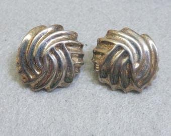 Silver Button Pierced Earrings, Vintage, 1980s
