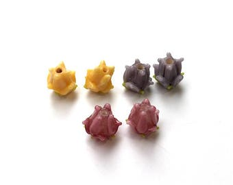 6 pieces 12mm Lampwork Glass Flower Beads, Rosebud, Floral, Spring Beads, 3 colors