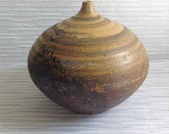 Large Modern Studio Art Pottery Vase.  Signed 1970's Weed Pot.   Raku Glaze fire.