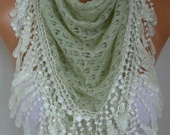 ON SALE --- Almond Knitted Lace Scarf Shawl Cowl Oversized Bridesmaid Bridal Accessories Gift Ideas For Her Women Fashion Accessories Mother