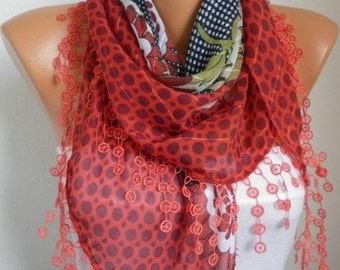 ON SALE --- Red Scarf Cotton Scarf, Summer Scarf,Teacher Gift Cowl Scarf Necklace Bridesmaid Gift Gift Ideas For Her Women's Fashion Accesso
