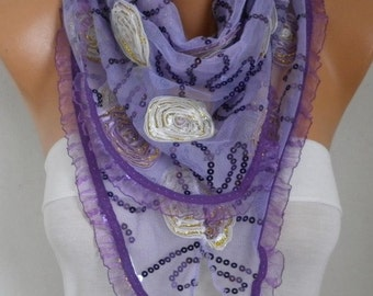 Lilac Lace Floral Sequin Scarf - Wedding Shawl, Cowl Scarf, Lace Edge, Bridesmaid Gift,Gift Ideas for Her, Women Fashion