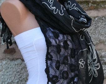 ON SALE --- Black Tassel Embroidery Scarf,Wedding Shawl, Cowl Scarf, Bridal Scarf, Bridesmaid Gift, Gift Ideas For Her, Women Fashion Access