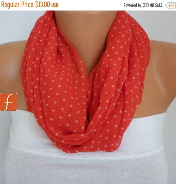 ON SALE --- Red Polka Dots Infinity Scarf Spring Chiffon Circle Loop Scarf Gift Ideas For Her Women Fashion Accessories Mother's Day Gift