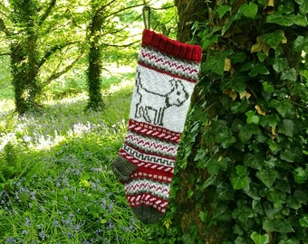 Dog Christmas Stocking Knitted Holiday Xmas Christmas Stocking Fair Isle Stranded Knit Home Decoration Ornament (Ready to Ship) DLR