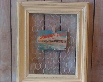 Chicken Wire Frame,  Yellow Wood Frame,Small Photo board, Shabby Cottage decor, Beach Cottage, Farmhouse Home decor, Savannah's Cottage