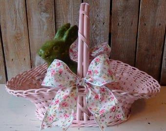 Vintage Easter Basket, Pink Spring Basket, Girl's handle woven Basket, Egg Basket, Display, Shabby Cottage Style, Savannah's Cottage