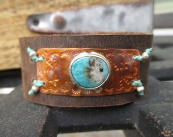 Turquoise distressed leather Cuff bracelet - Oasis - blue rustic southwestern adjustable layering bracelet festival boho by slashKnots