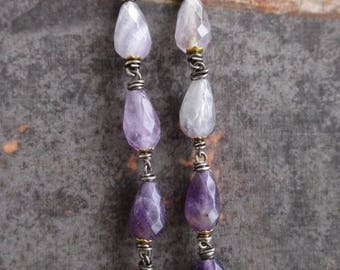 Amethyst ombre linear earrings - Lavender Rain - purple semi precious stone sterling silver flower long dangle earrings boho by slashKnots