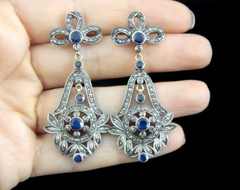 Victorian Style Sapphires Rose Cut Diamonds 14k Yellow Gold Silver Earrings Bows