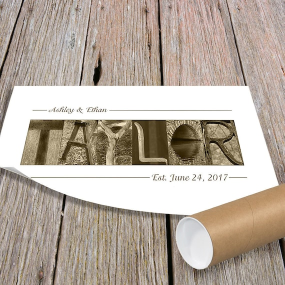 ENGAGEMENT GIFT, Paper Anniversary Gift, Personalized Wedding Gift, Last Name Sign, Alphabet Photography, Wedding Shower Gift