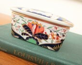 Andrea by Sadek porcelain trinket box.  Inspired by English Imari dinnerware at Smithsonian American History Museum.