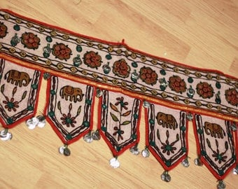 Indian Mirror Elephant Coin Belt dance textile costume tribal