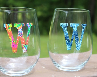 PAIR (2) of stemless wine glasses with Lilly Pulitzer print monogram, Monogram Gifts, Lilly Monogram, Custom Hostess