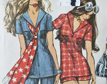 Vtg Women's 1971 Hippie Era Boho Tunic Top Sailor Collar Hot Pants or Shorts Bell Bottom Flared Pants Sewing Pattern 9372 Size 14 Bust 36