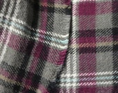 Plaid Flannel Fabric Soft Cotton Flannel Fabric Black White Magenta on Gray 100% Cotton Flannel Printed on Both Sides Shirting Apparel
