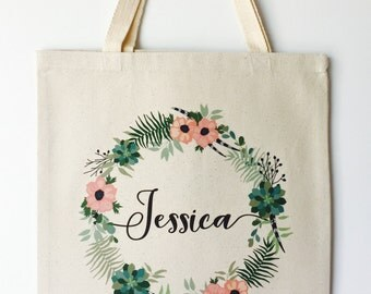 Florals and Feathers Personalized Wedding Tote Bag, Bridesmaid Gift, Custom Printed Tote Bag, Wedding Party Gift