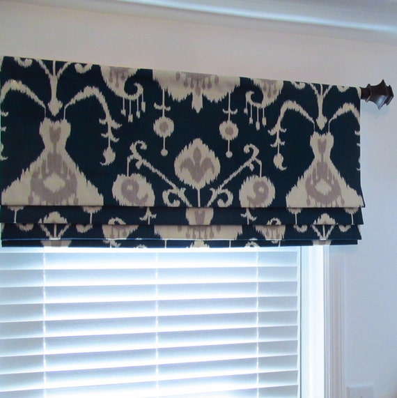 navy blue lined faux roman shade ikat mock roman valance. Black Bedroom Furniture Sets. Home Design Ideas