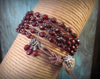 Bohemian Wrap Bracelet - Rustic Red Romantic - Dark, Earthy, Boho Chic Crochet Jewelry