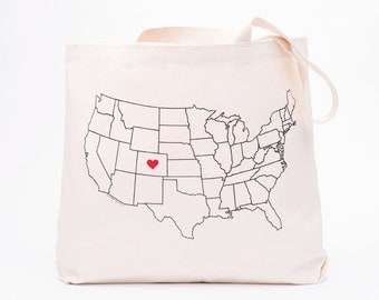 USA Map Tote Bag - Screen Printed Cotton Grocery Bag - Home Sweet Home Large Canvas Shopper Tote