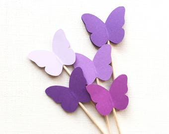 24 Purple Butterfly Cupcake Toppers, Party Decor, Weddings, Showers, Birthdays, Sofia the First, Princess Party, Spring, Summer, Nature