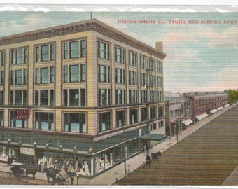 "Iowa, Vintage Postcard, ""Harris-Emery Co. Store, Des Moines, Iowa,""  1916,  #932."