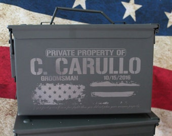 Ammo Box, Personalized Ammo Box, Christmas Gift Dad, Metal Ammunition, Men Gift Box