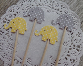 24 Grey and Yellow Polka Dot  Elephant Party Picks - Cupcake Toppers - Food Picks -  Baby Shower Decorations - Gender Neutral Party - Gray