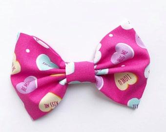 VALENTINES XL Bow Tie Headband or Clip CONVERSATION HEARTs - XLarge Bow Tie Headband - girl, baby, toddler, woman, bow, jewel tones
