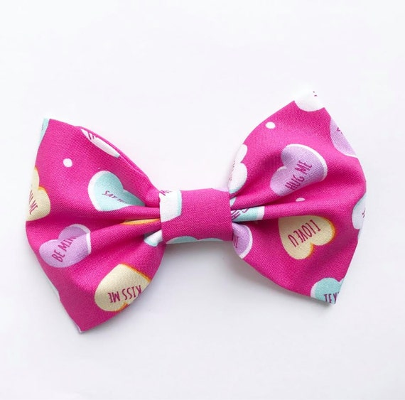 VALENTINES XL Bow Tie Headband or Clip CONVERSATION HEARTs - XLarge Bow Tie Headband - girl, baby, toddler, woman, bow, jewel tones