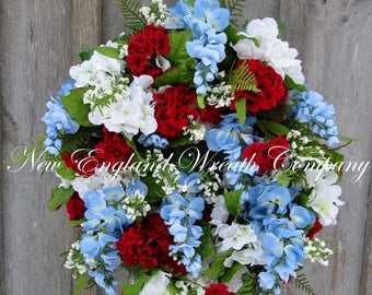 Spring Wreath, Elegant Patriotic Wreath, Summer Wreath, Floral Wreath, Victorian Garden, Memorial Day, Country French, XL Designer Wreath