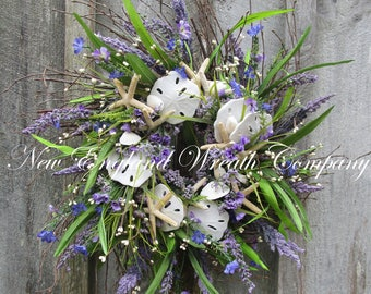 Beach Wreath, Summer Wreath, Seashell Wreath, Summer Cottage Wreath, Coastal Wreath, Floral Shell Wreath, Summer Floral Designer Wreath