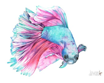 Fighting Fish Print of watercolor painting, FF18717, 5 by 7 size, Fighting Fish watercolor, Siamese Fighting Fish Watercolour painting print