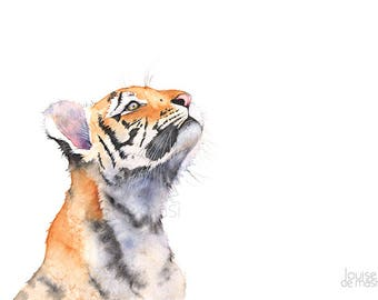Tiger Cub print of watercolor painting, TC21517, 5 by 7 size, Tiger print, Tiger watercolor, baby tiger print, baby animal print,