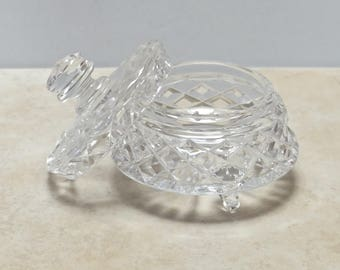 Vintage Early Century Cut Glass Crystal Tripod Legged Lidded Vanity Jar