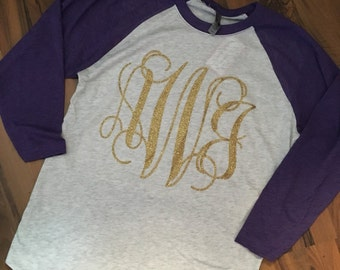 Glitter Monogrammed Baseball Tee Pick Your Colors