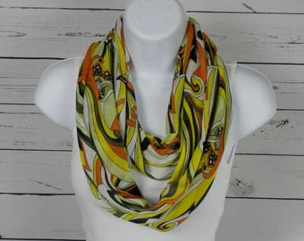 Mod Yellow, Olive, and Rusty Orange Double Infinity Scarf Handmade by Thimbledoodle