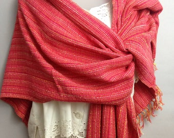 Coral Red V-Back Shawl