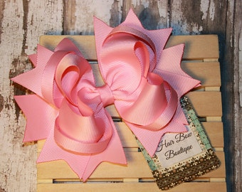 Large pink Hair bow , over the top , 5.6 inch hair bow for girls , pink birthday hair bow