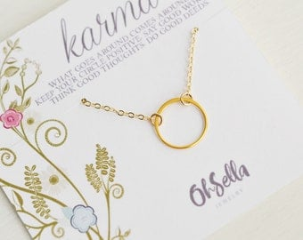 Eternity Circle Necklace, Karma Necklace, Delicate Circle Necklace, Gold Necklace, Silver Necklace, Bridesmaids Gift